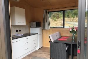 Harakeke huts kitchen/lounge/bathroom